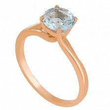 Золотое кольцо с голубым топазом Деа