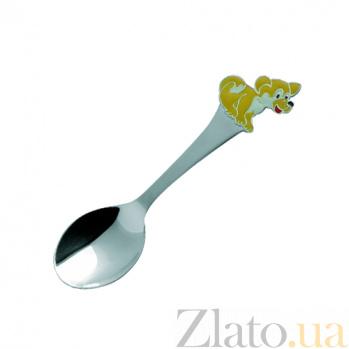Серебряная чайная ложка с цветной эмалью Собака 000020986