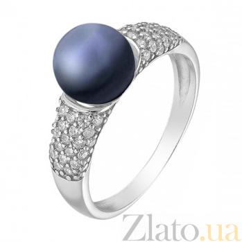 Серебряное кольцо Флори с черным жемчугом 000029165