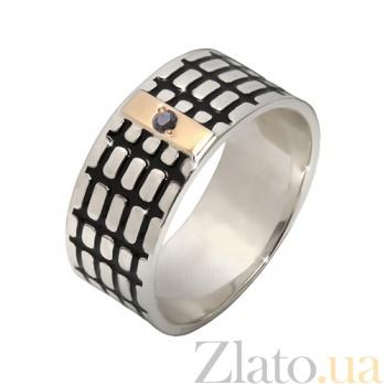 Серебряное кольцо Бродвей с золотой накладкой, эмалью и черным фианитом BGS--674/к ч