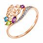 Кольцо из красного золота с аметистами, хризолитом, топазом и цирконием 000138395