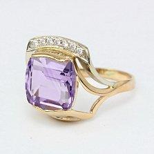Золотое кольцо с аметистом и фианитами Винсентия