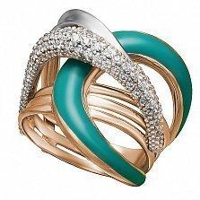 Кольцо в красном золоте Таира с эмалью и фианитами