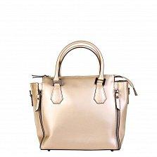 Кожаная деловая сумка Genuine Leather 8849 золотистого цвета на молнии, с металлическими ножками