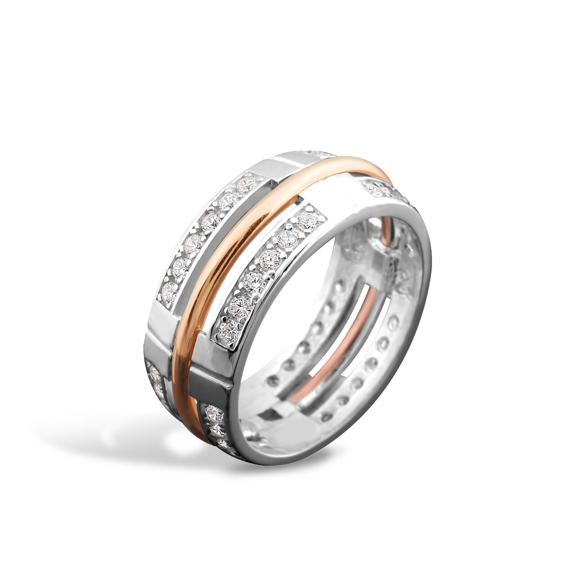 Серебряное кольцо Армель с золотой накладкой, фианитами и родием