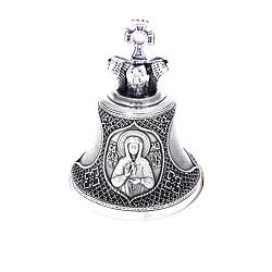 Бронзовый колокольчик Св. Матрона с розовыми фианитами 000004456