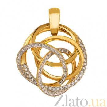 Кулон из желтого золота Омега с фианитами. VLT--ТТ3390-1