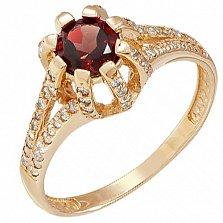 Золотое кольцо Кристина с гранатом и фианитами