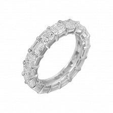 Серебряное кольцо Свадебный танец с дорожкой белых фианитов