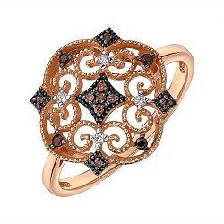 Кольцо из красного золота с фианитами 000138017
