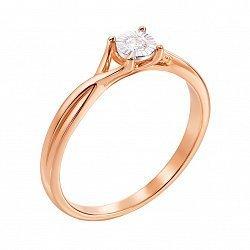 Кольцо в красном и белом золоте с бриллиантом 000117678