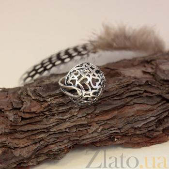 Серебряное ажурное кольцо Любимое в форме полусферы 000079952