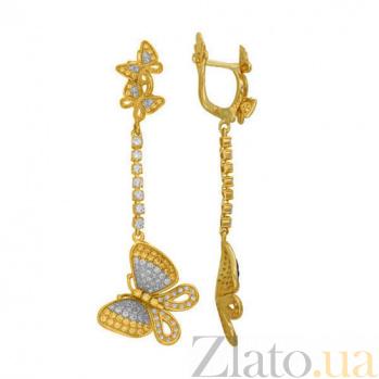 Серьги-подвески из желтого золота и цирконием Бабочка VLT--ТТТ2526-1