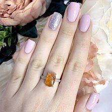 Серебряное кольцо Солнечный мед с янтарем и фианитами