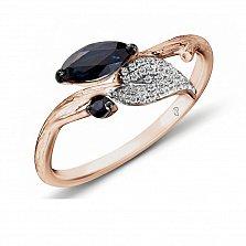 Кольцо из красного золота Арселия с бриллиантами и сапфирами
