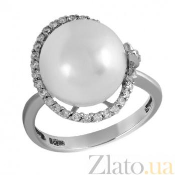 Золотое кольцо с жемчугом и бриллиантами Камилла 000026925