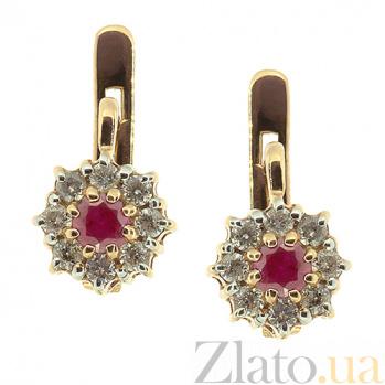 Золотые серьги с бриллиантами и рубинами Юна ZMX--ER-6668\1_K