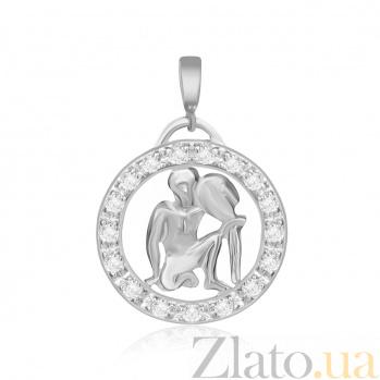 Серебряный подвес с кристаллами циркония Водолей  000025309