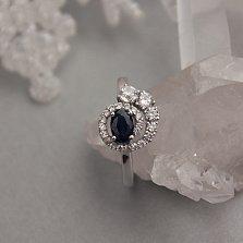 Серебряное кольцо Галактика с гидротермальным сапфиром и фианитами