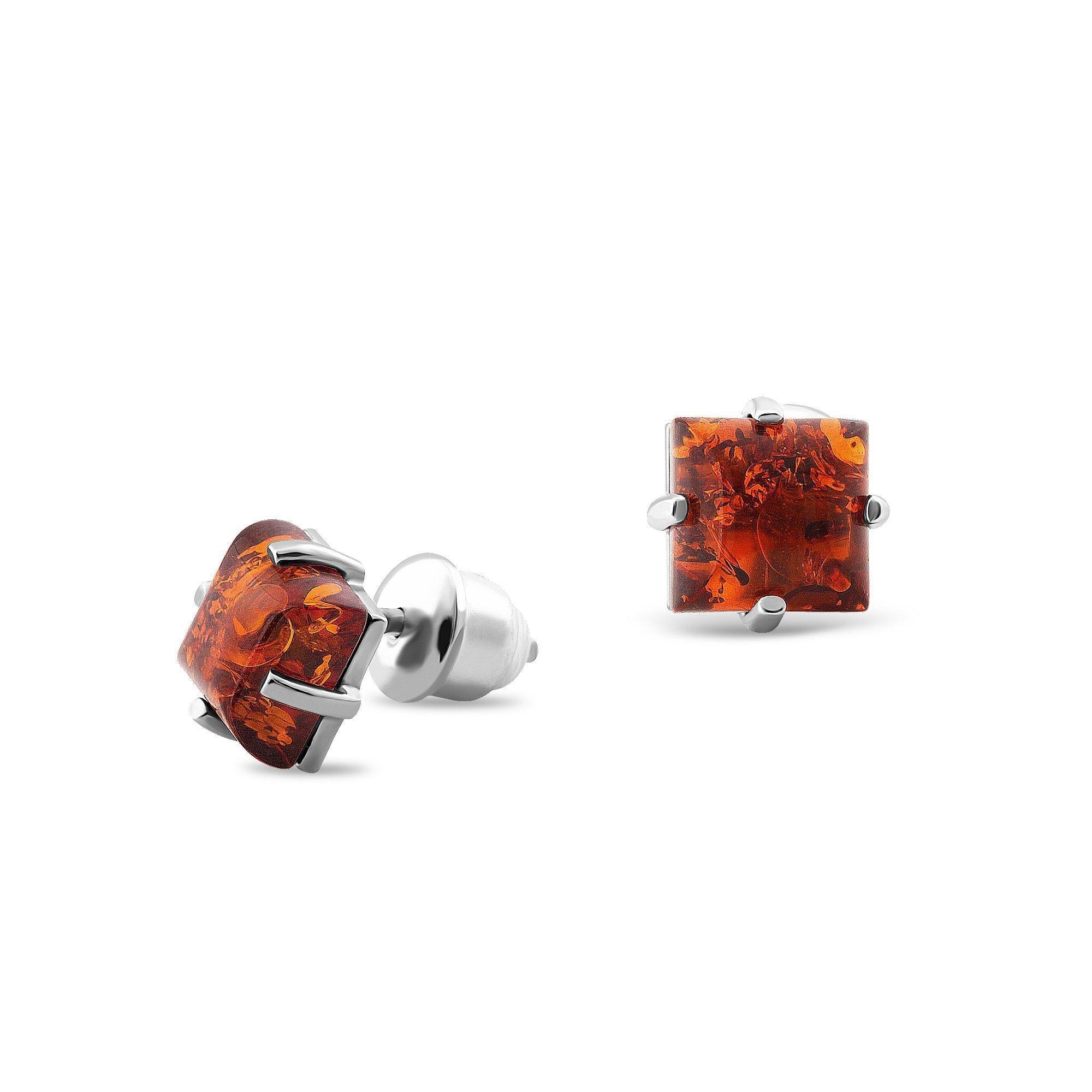 Серебряные серьги-пуссеты Джози с янтарем