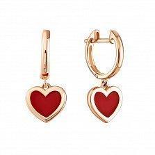 Золотые серьги-подвески Яркие сердечки с красной эмалью