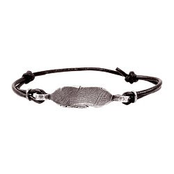 Кожаный браслет с серебром Feel the same с чернением 000091325