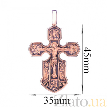 Золотой крест с чернением Ангелы небес ONX--п01843