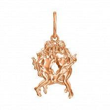 Кулон из красного золота Знак Зодиака Близнецы 000121524