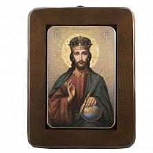 Икона на деревянной основе Спаситель в короне с цветной эмалью, 29х41