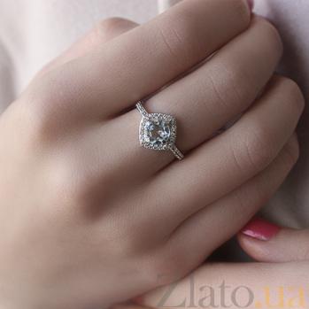 Серебряное кольцо Элис с голубым топазом и фианитами 000032419