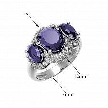 Серебряное кольцо Аврора с аметистом и фианитами