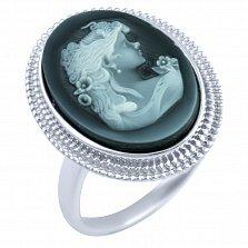 Кольцо из серебра Камея с ониксом и перламутром
