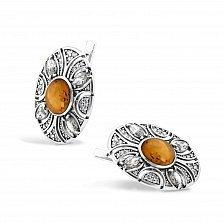 Серебряные серьги Карима с янтарем и фианитами