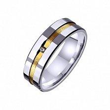 Золотое обручальное кольцо Законы любви с фианитом