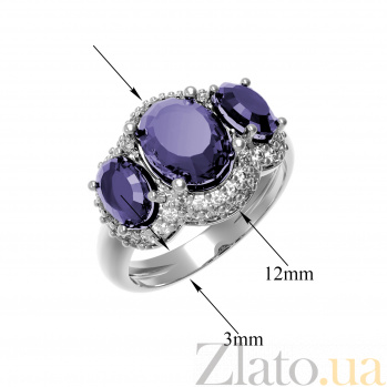 Серебряное кольцо Аврора с аметистом и фианитами 000079774