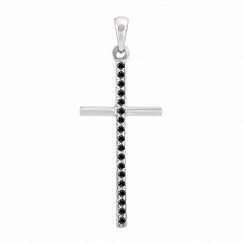 Хрестик в білому золоті Жіночність з чорними діамантами