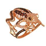 Кольцо из красного золота Золотая лягушка с фианитами