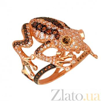Кольцо из красного золота Золотая лягушка с фианитами VLT--Т101-4