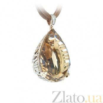 Подвес из желтого золота с топазом и бриллиантами Время любви 000029536