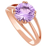 Золотое кольцо Лия с синтезированным аметистом
