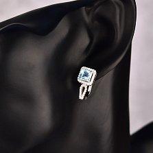 Серебряные серьги Годива с голубым топазом и фианитами