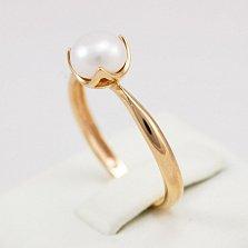 Кольцо из красного золота с жемчугом Лотос