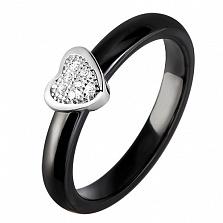 Кольцо из керамики и серебра Лилиан
