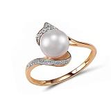 Кольцо из красного золота Грация с бриллиантами и жемчугом