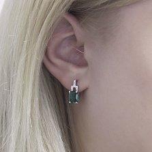 Серебряные серьги Викентия с зеленым кварцем и фианитами