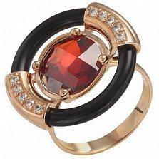 Золотое кольцо Борнео с агатом и фианитами