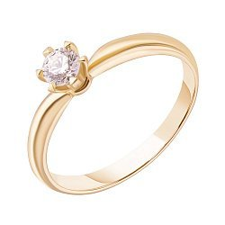Кольцо из желтого золота с бриллиантом, 0,28ct 000034719