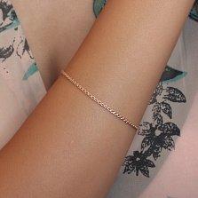 Золотой браслет Темп в плетении плоский бисмарк, 2мм