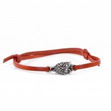 Кожаный браслет с серебром Owl Red с чернением