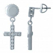 Серебряные серьги-подвески Крестики с фианитами